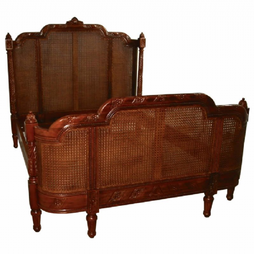 French Rattan Bergere Bed in Mahogany
